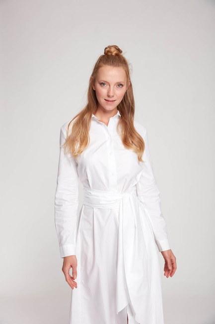 Dik Yaka Gömlek Elbise (Ekru) - Thumbnail