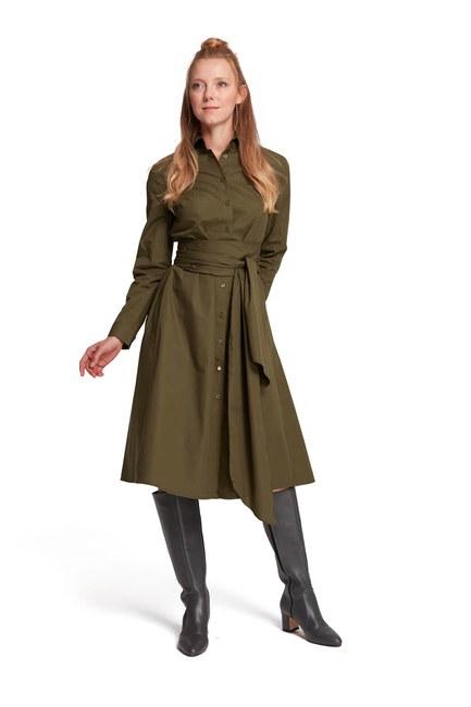 MIZALLE فستان قميص بياقة مستقيمة (كاكي)