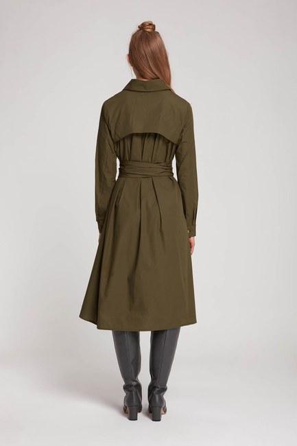 فستان قميص بياقة مستقيمة (كاكي) - Thumbnail