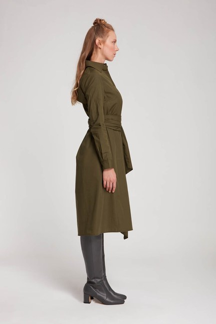 Dik Yaka Gömlek Elbise (Haki) - Thumbnail