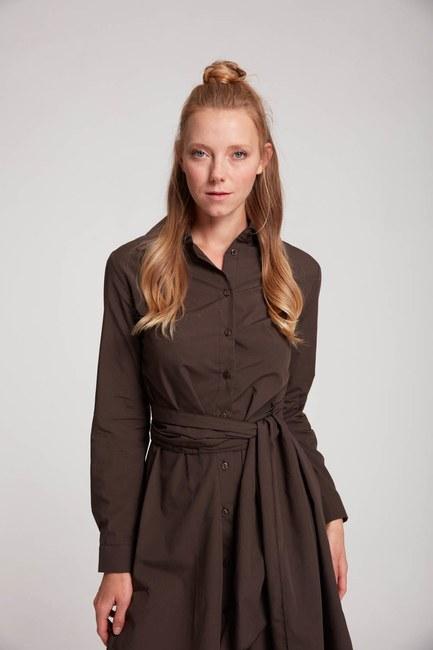 Mizalle - Dik Yaka Gömlek Elbise (Kahve)