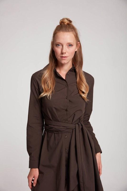 Dik Yaka Gömlek Elbise (Kahve)