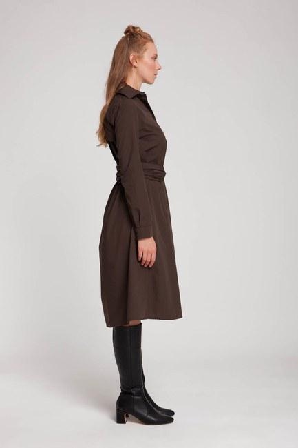 فستان قميص عمودي (بني) - Thumbnail