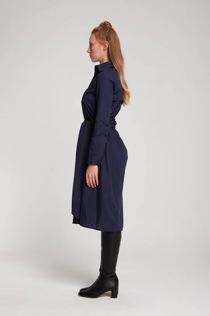MIZALLE - فستان قميص عمودي (الأزرق الداكن) (1)