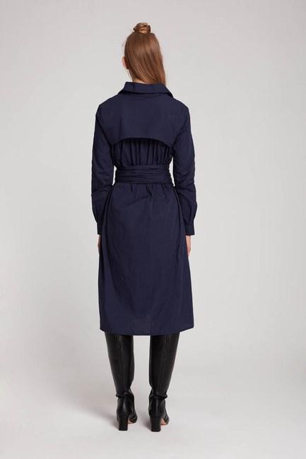 فستان قميص عمودي (الأزرق الداكن) - Thumbnail