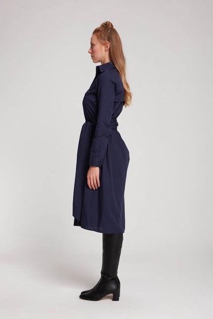 MIZALLE - Dik Yaka Gömlek Elbise (Lacivert) (1)
