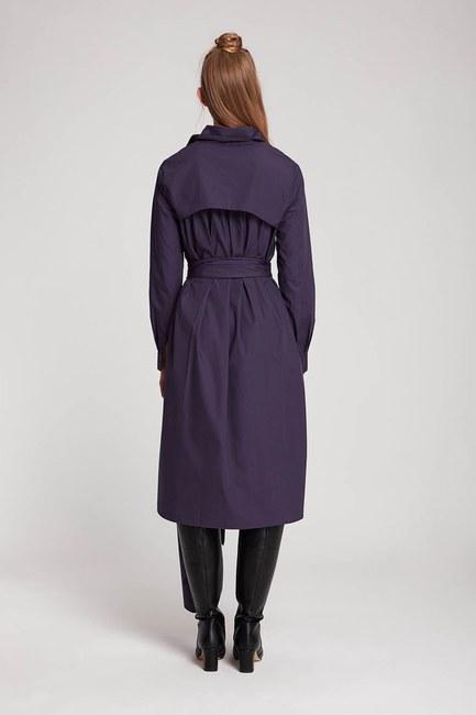 Dik Yaka Gömlek Elbise (Mor) - Thumbnail
