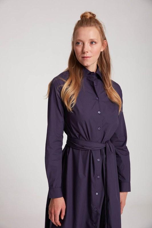 Dik Yaka Gömlek Elbise (Mor)