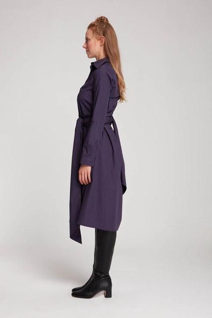 MIZALLE - Dik Yaka Gömlek Elbise (Mor) (1)
