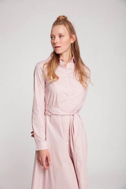 Mizalle - Dik Yaka Gömlek Elbise (Pudra)