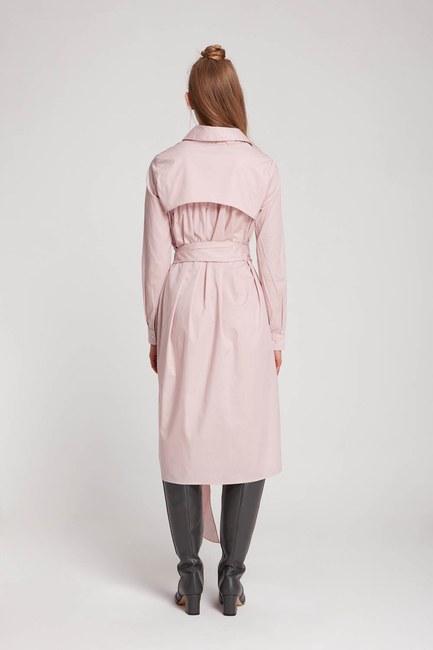 فستان قميص بياقة مستقيمة (مسحوق) - Thumbnail