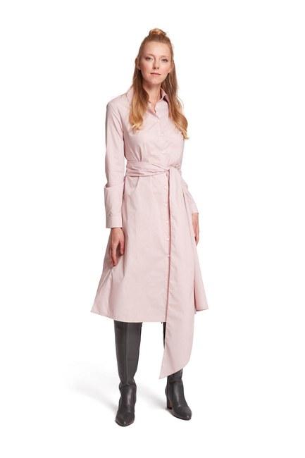 MIZALLE Dik Yaka Gömlek Elbise (Pudra)
