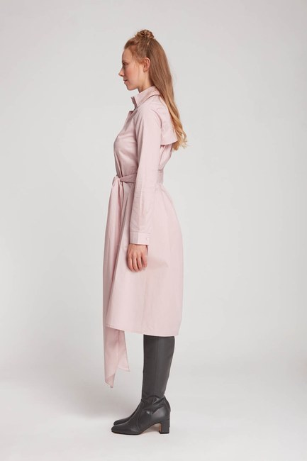MIZALLE - Dik Yaka Gömlek Elbise (Pudra) (1)