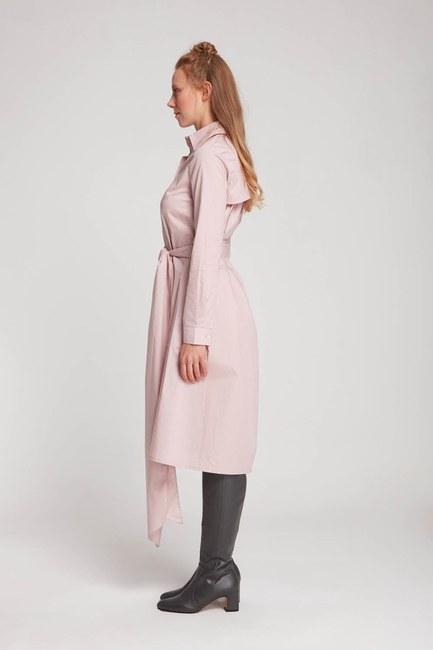MIZALLE - Vertical Neck Shirt Dress (Powder) (1)
