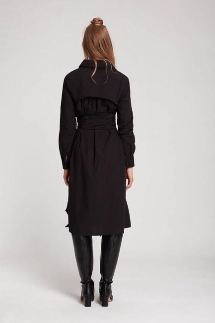 فستان قميص عمودي (أسود) - Thumbnail
