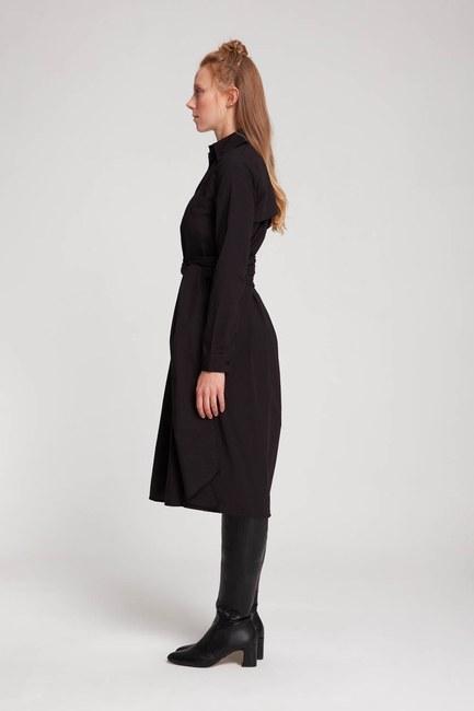 MIZALLE - Dik Yaka Gömlek Elbise (Siyah) (1)