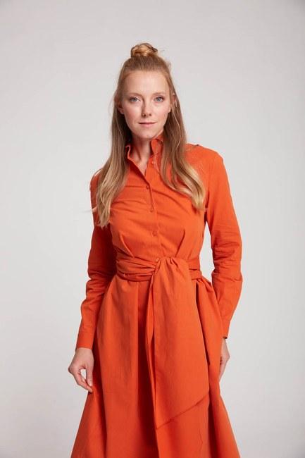 Mizalle - Dik Yaka Gömlek Elbise (Turuncu)