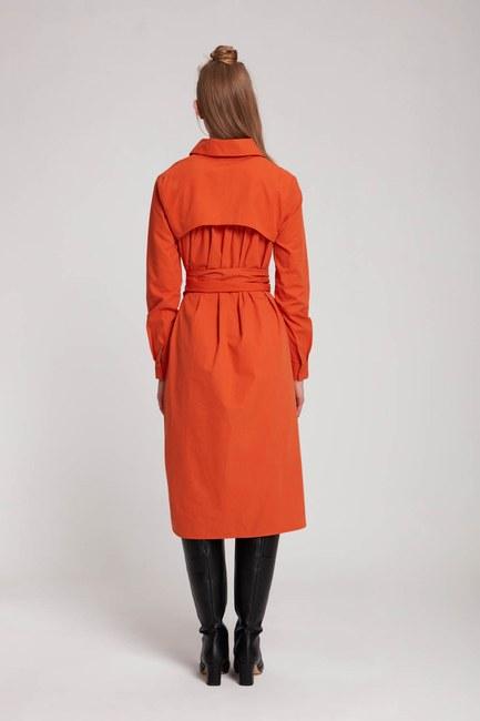 فستان قميص عمودي (برتقالي) - Thumbnail