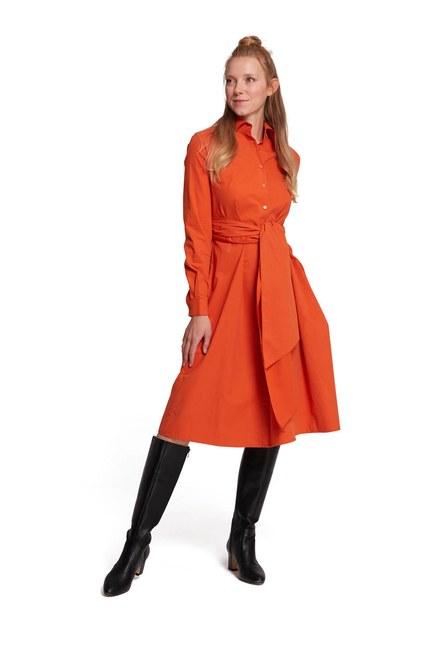 MIZALLE Dik Yaka Gömlek Elbise (Turuncu)