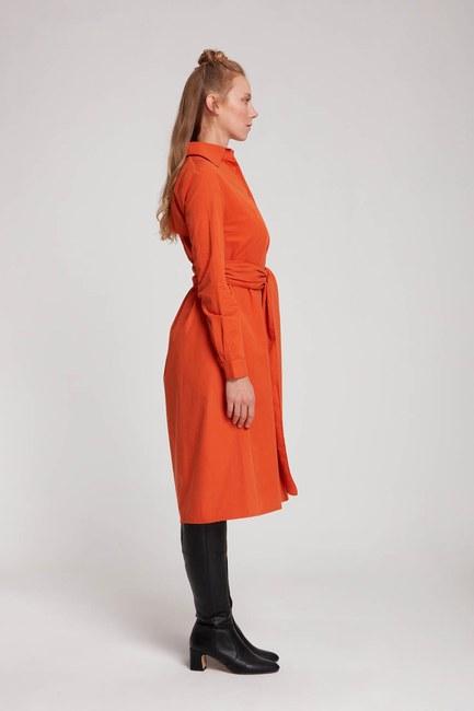 Dik Yaka Gömlek Elbise (Turuncu) - Thumbnail