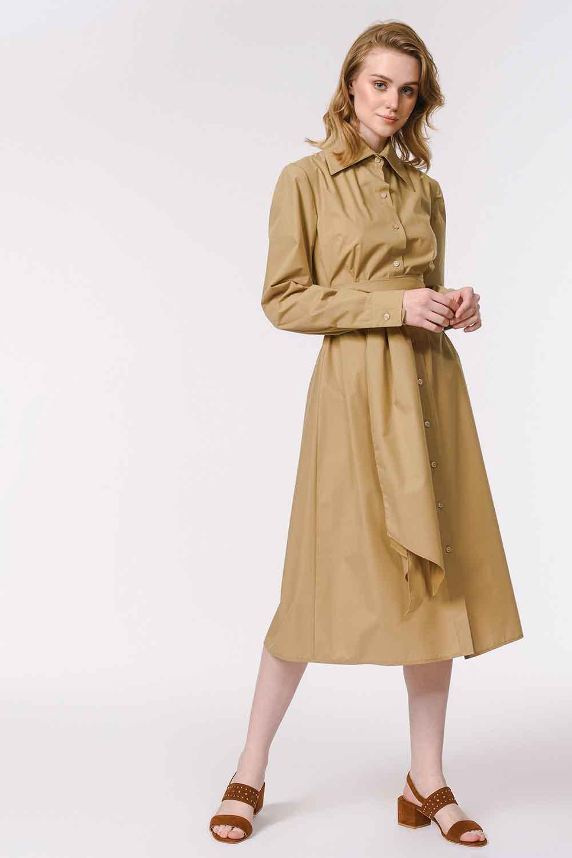MIZALLE Dik Yakalı Gömlek Elbise (Bej) (1)