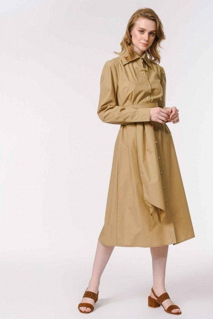 MIZALLE - Dik Yakalı Gömlek Elbise (Bej) (1)