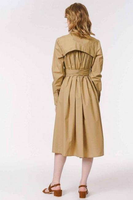 Vertical Collar Shirt Dress (Beige) - Thumbnail