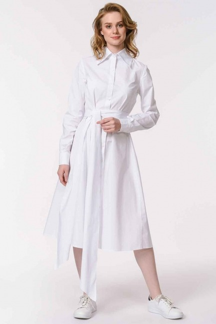 MIZALLE - فستان القميص مع ذوي الياقات البيضاء (أبيض) (1)
