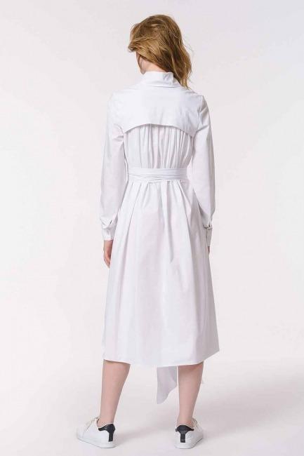 فستان القميص مع ذوي الياقات البيضاء (أبيض) - Thumbnail