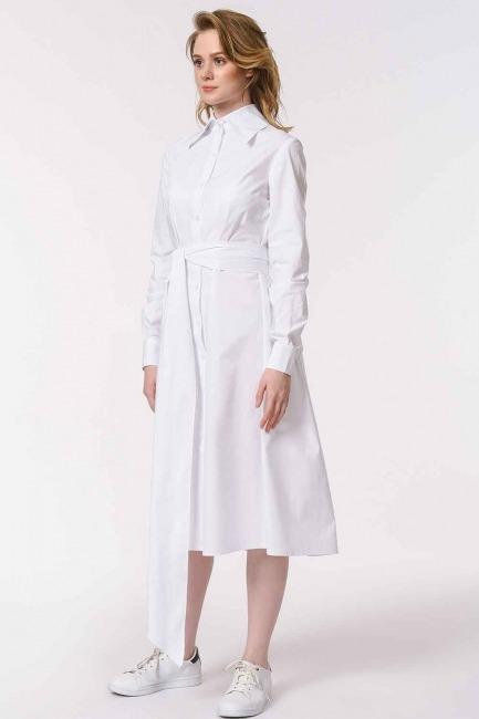 Dik Yakalı Gömlek Elbise (Beyaz) - Thumbnail