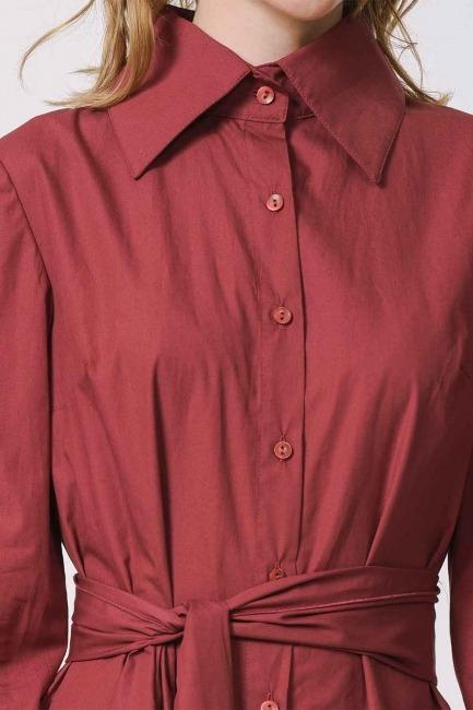 فستان القميص مع ذوي الياقات البيضاء (عنابي اللون) - Thumbnail