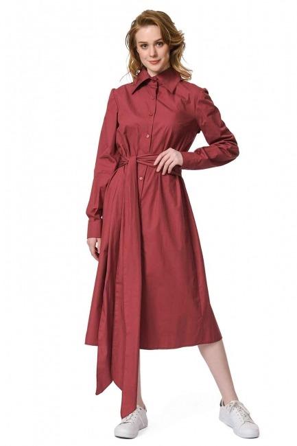 MIZALLE Dik Yakalı Gömlek Elbise (Bordo)