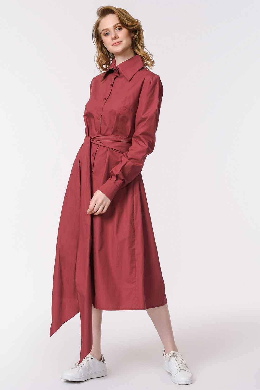 MIZALLE Dik Yakalı Gömlek Elbise (Bordo) (1)