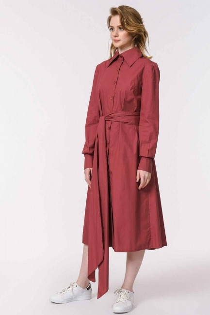 Dik Yakalı Gömlek Elbise (Bordo) - Thumbnail
