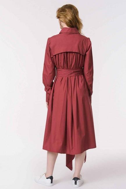 Vertical Collar Shirt Dress (Claret Red) - Thumbnail