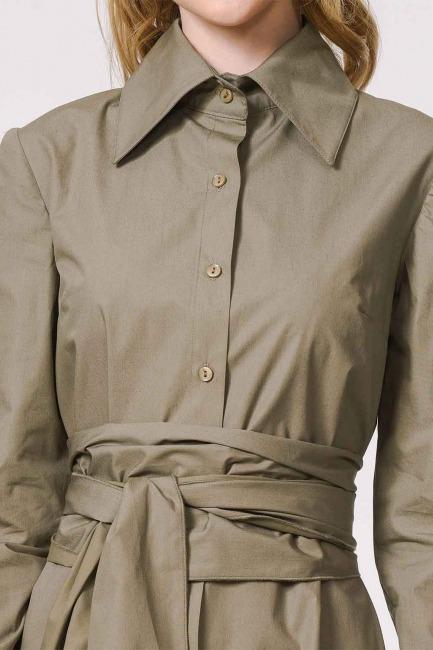 Dik Yakalı Gömlek Elbise (Haki) - Thumbnail