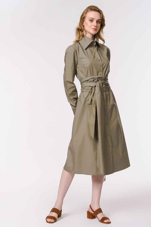 MIZALLE Dik Yakalı Gömlek Elbise (Haki) (1)