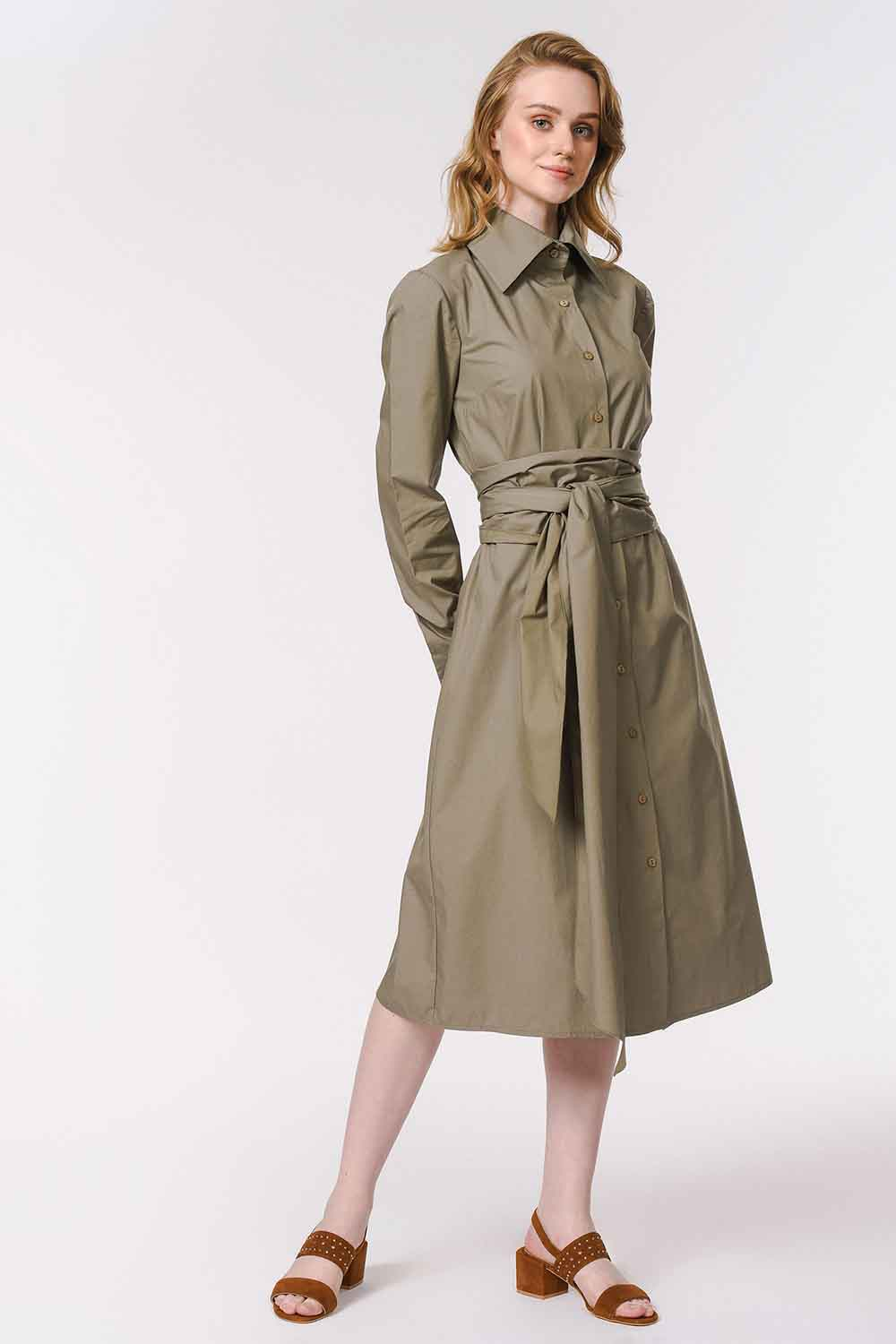 MIZALLE Vertical Collar Shirt Dress (Khaki) (1)