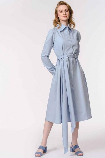 MIZALLE - Dik Yakalı Gömlek Elbise (Mavi) (1)