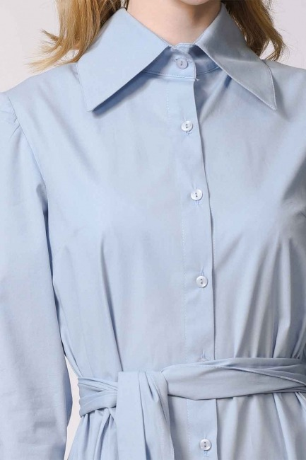 Dik Yakalı Gömlek Elbise (Mavi) - Thumbnail