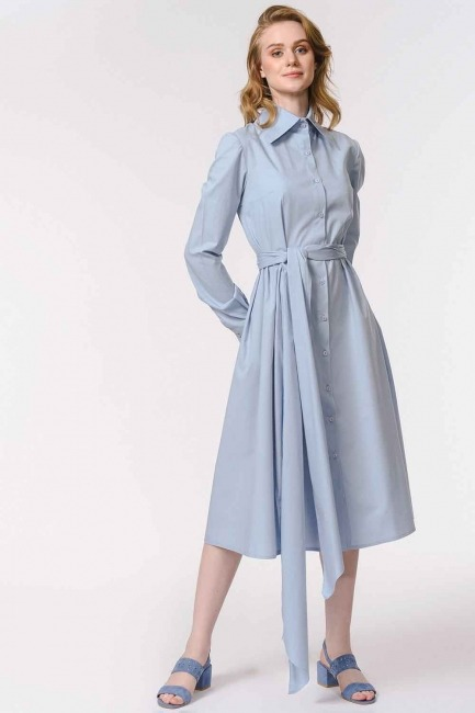 MIZALLE - Vertical Collar Shirt Dress (Blue) (1)