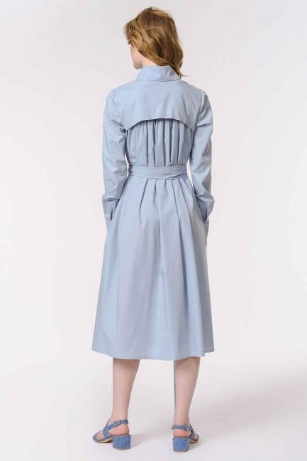 Vertical Collar Shirt Dress (Blue) - Thumbnail