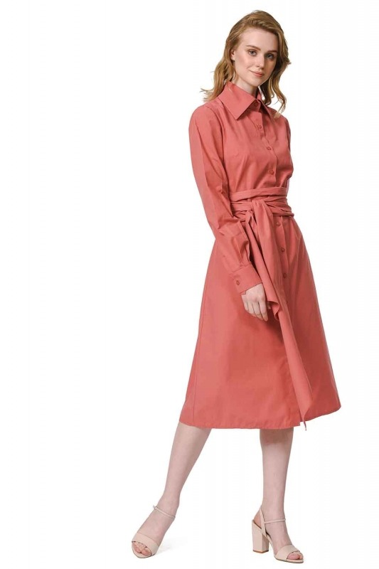Dik Yakalı Gömlek Elbise (Mercan)
