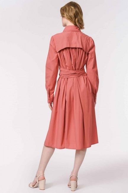 Dik Yakalı Gömlek Elbise (Mercan) - Thumbnail
