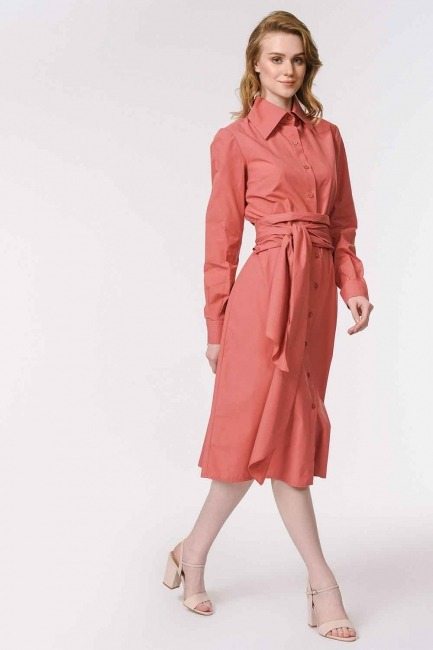 MIZALLE - Vertical Collar Shirt Dress (Coral) (1)