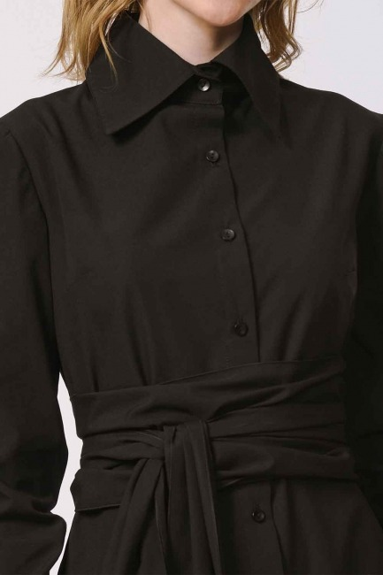 Dik Yakalı Gömlek Elbise (Siyah) - Thumbnail
