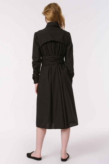 Vertical Collar Shirt Dress (Black) - Thumbnail