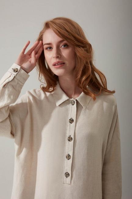Dikiş Detaylı Keten Bluz (Bej) - Thumbnail