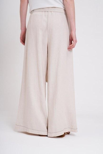 Dikiş Detaylı Pantolon (Bej) - Thumbnail