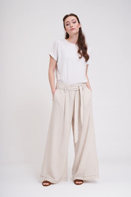 Mizalle - Dikiş Detaylı Pantolon (Bej)